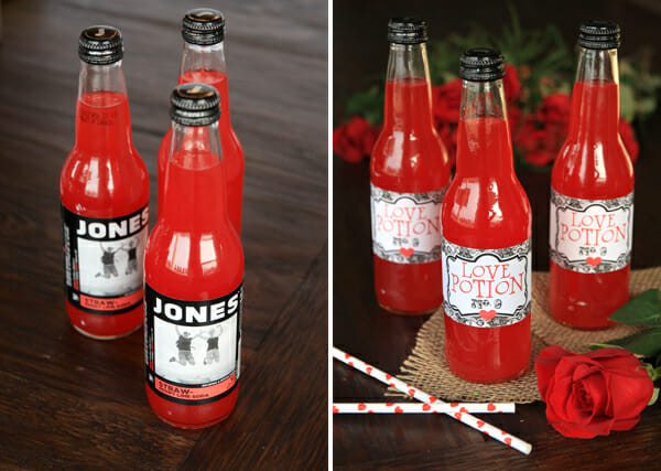 Love Potion Labels on Jones Soda
