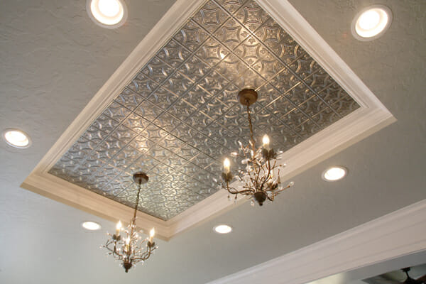 Metal Tile Inlay above kitchen island