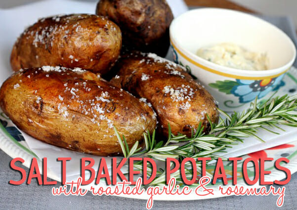 America's Test Kitchen Salt Baked Potatoes with roasted garlic and rosemary from Our Best Bites