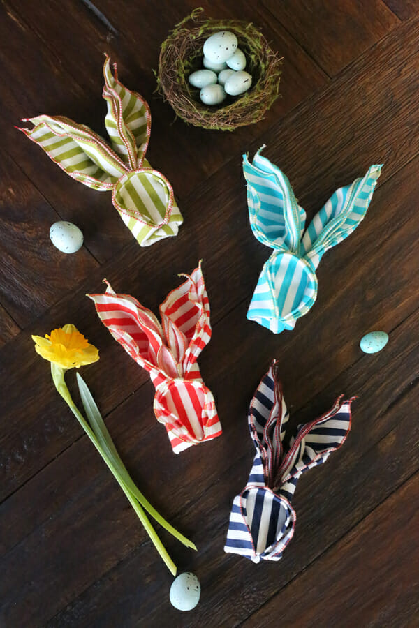 Striped Folded Bunny Napkins