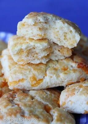 chddar biscuits halved