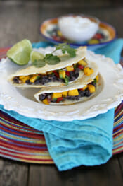 Easy Black Bean and Mango Quesadillas