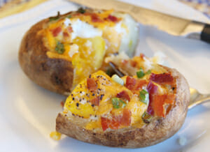 Egg Stuffed Baked Potatoes