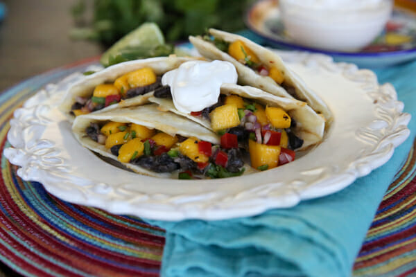 Quick and Easy Black Bean and Mango Quesadillas