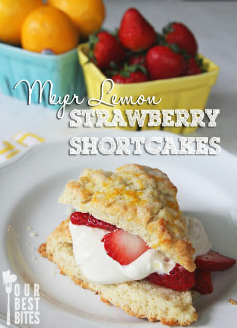Meyer lemon strawberry shortcakes with buttermilk whipped cream from Our Best Bites