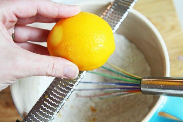 grating a Meyer lemon