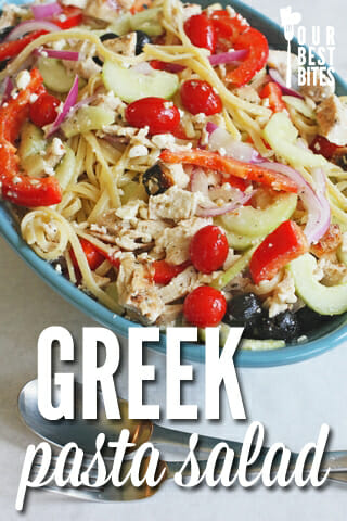 Quick and easy Greek pasta salad from Our Best Bites