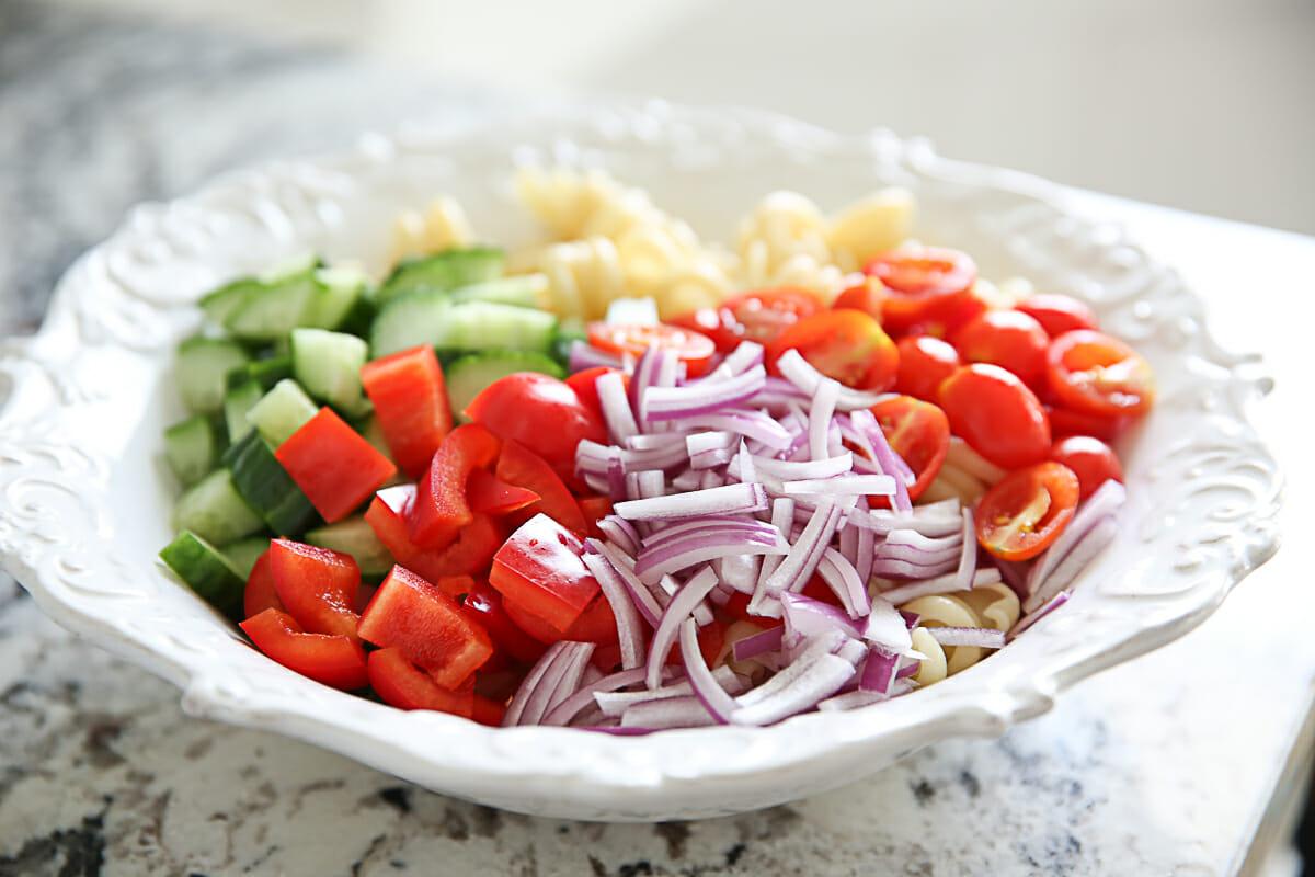 Pasta Salad veggies in bowl