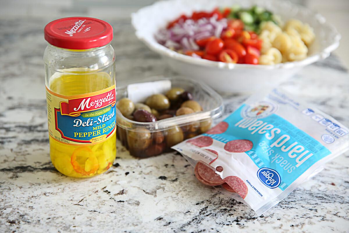 peppers, salami olives