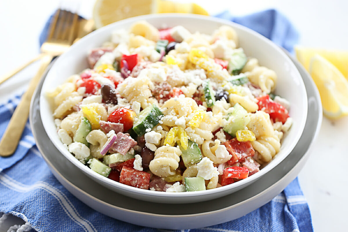 Greek Pasta Salad in Serving Bowl