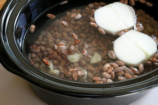 pinto beans in pot