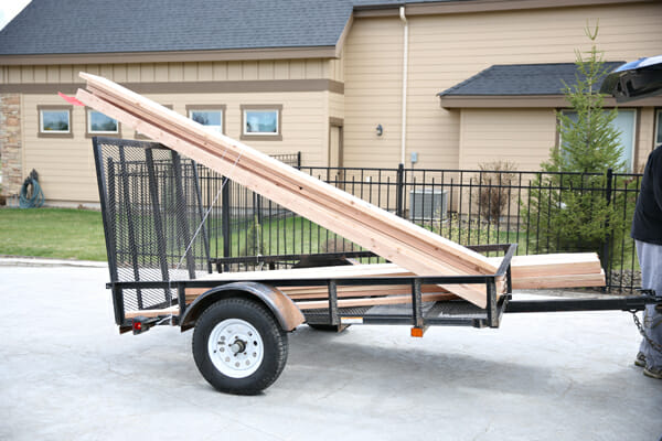 wood on trailer