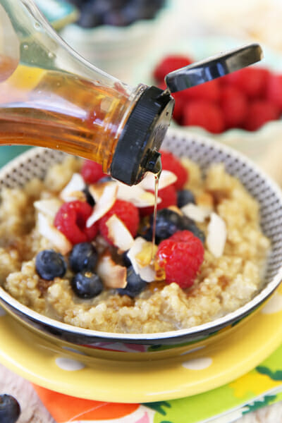 Agave syrup on sweet quinoa