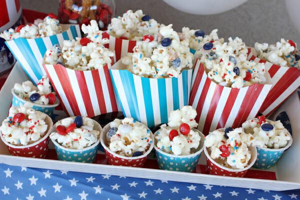 Patriotic Popcorn in Containers