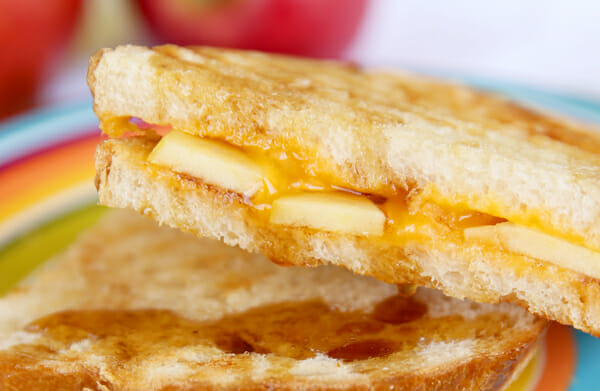 Grilled Cheese with Apples close up