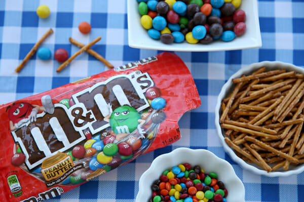 M&Ms with Pretzels