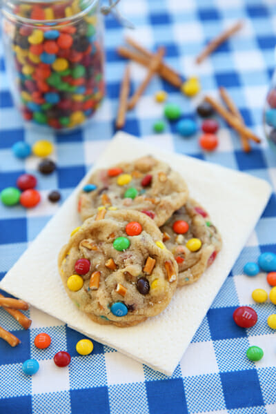 Salted Peanut Butter Pretzel M&M Cookies from Our Best Bites