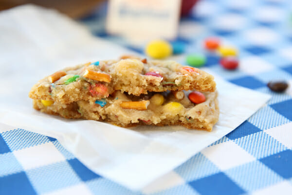 Soft and Chewy PB Pretzel M&M Cookie