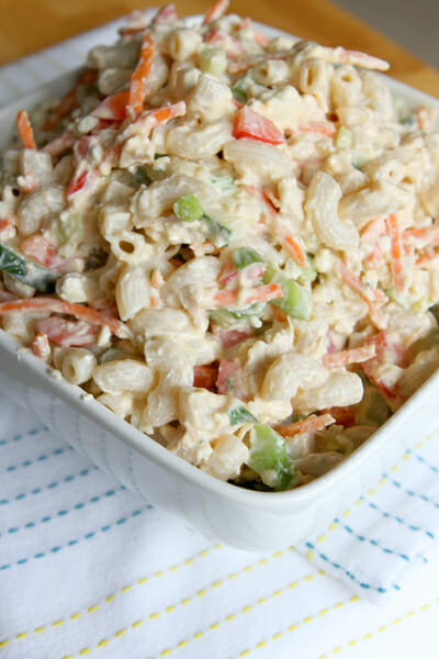 Yummy Buffalo Chicken Macaroni Salad from Our Best Bites
