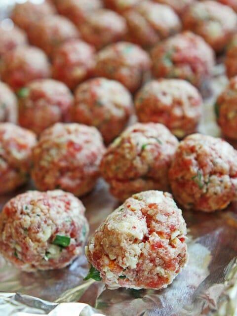meatballs on the pan