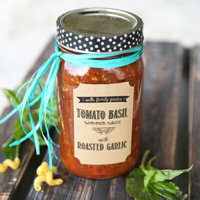 Tomato-Basil Simmer Sauce with Roasted Garlic {For Canning!}