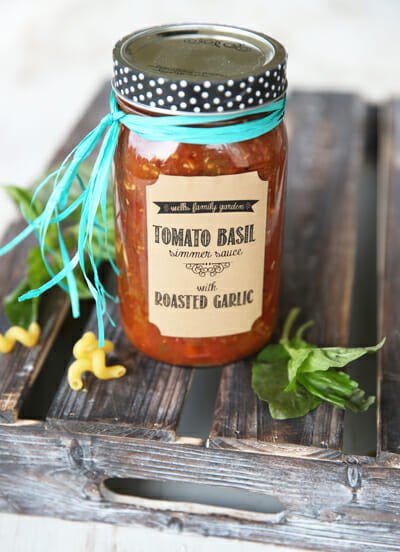 Home Canned Tomato Basil Simmer Sauce with Roasted Garlic