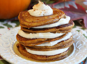 pumpkin roll pancakes from our best bites
