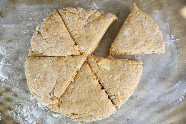 Pumpkin Scone Dough Cut into Wedges
