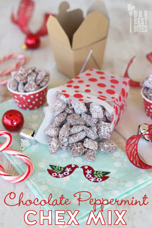 Yummy Candy Cane Muddy Buddies from Our Best Bites