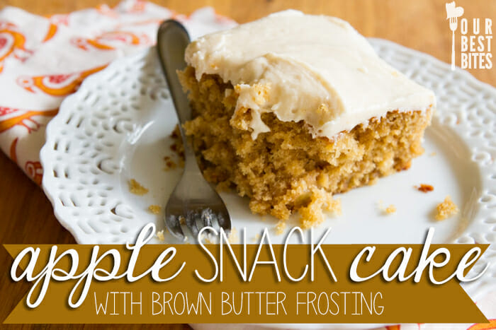 Apple snack cake with brown butter frosting from Our Best Bites