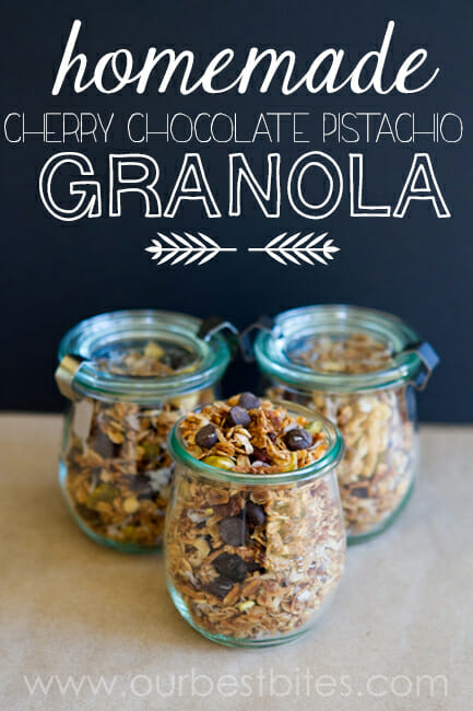 Homemade Granola with dark chocolate, cherries, and pistachios from Our Best Bites