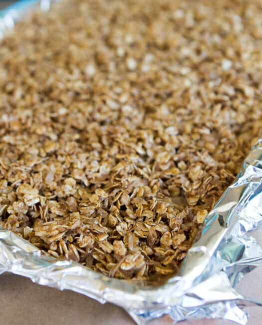 granola on baking sheet