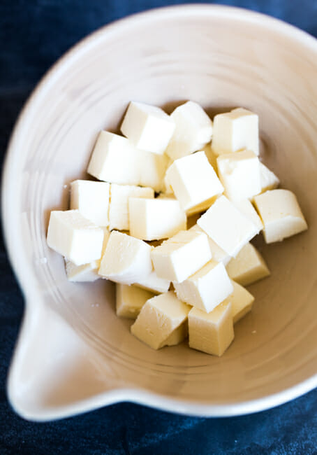 cut American cheese cubes