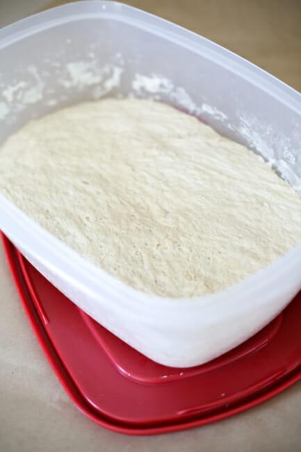 baguette dough risen