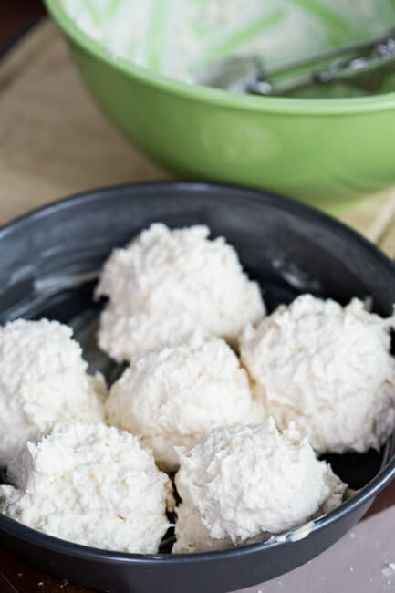 biscuit dough in pan