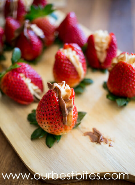 Super easy strawberries stuffed with salted caramel cream cheese and Nutella from Our Best Bites