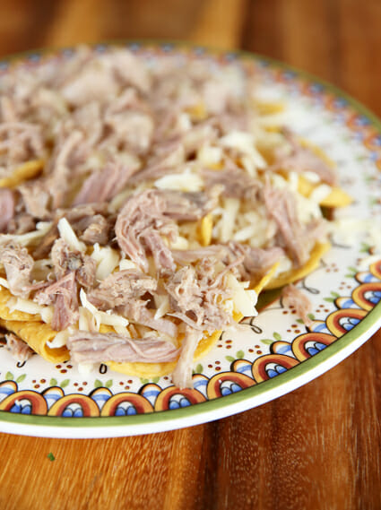 pork on nachos