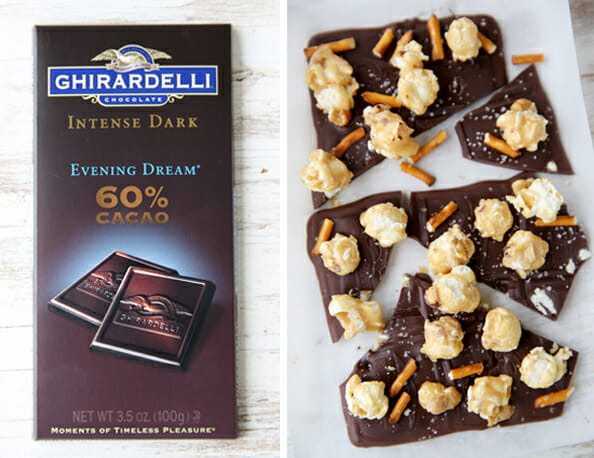Dark Chocolate with Caramel Corn and Pretzels