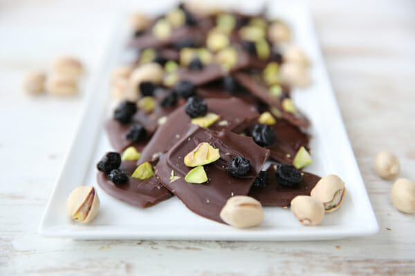 Dark Chocolate with Pistachios and Blueberries