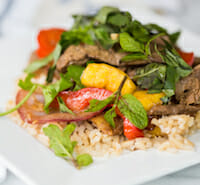 30 minute steak and mango stir fry from Our Best Bites--215 calories!