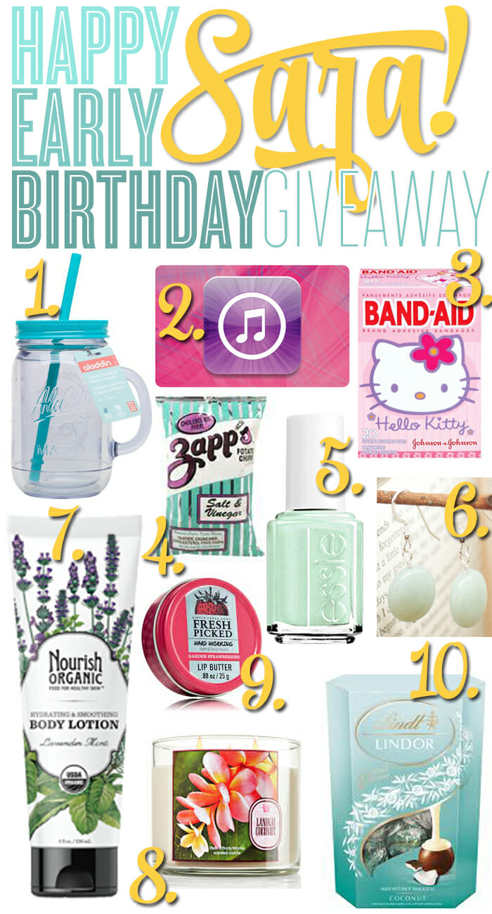 HAPPY BIRTHDAY SARA GIVEAWAY