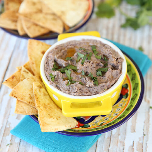 Black Bean Hummus with Baked Cumin-Lime Chips