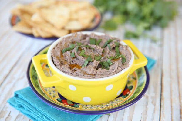 Our Best Bites Black Bean Hummus topped with Cilantro