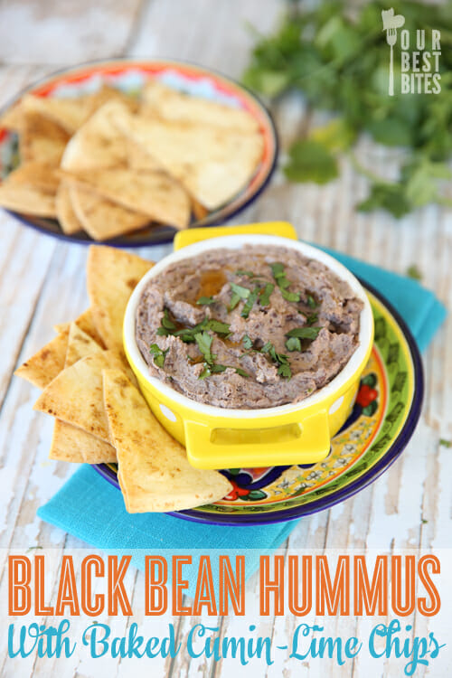 Our Best Bites Black Bean Hummus with Baked Cumin-Lime Chips