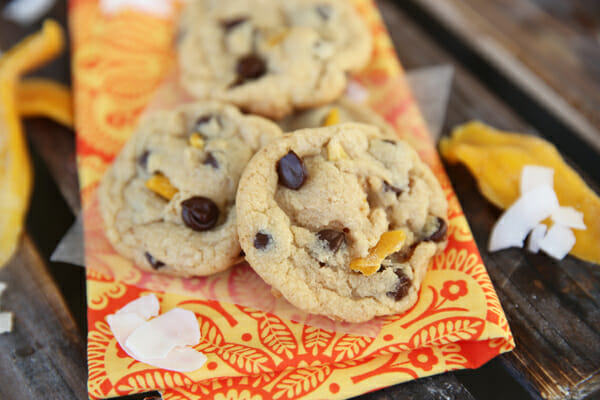 Dark Chocolate Chip Coconut Mango Cookies