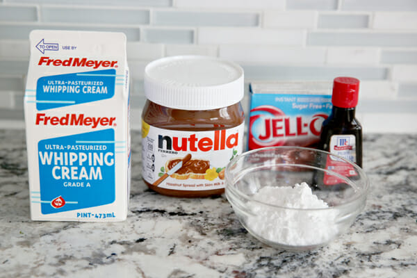 Nutella Whipped Cream ingredients