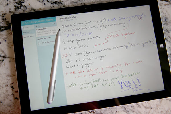 Surface Recipe Notes