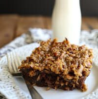 Coconut Crunch-Topped Chocolate Cake