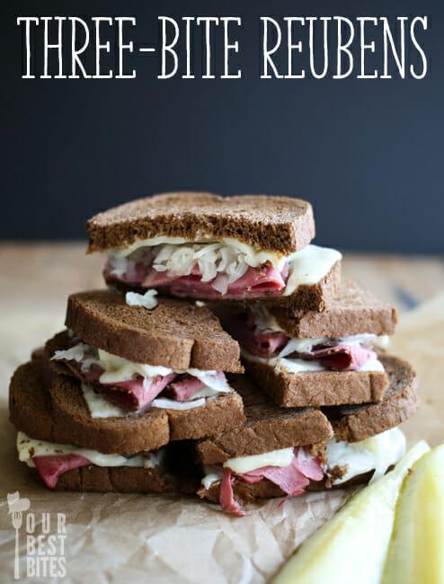 Three-Bite Reuben Sandwiches