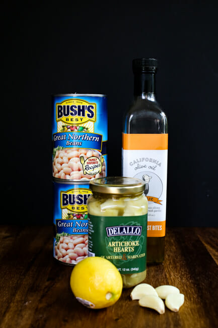 white bean and artichoke hummus ingredients